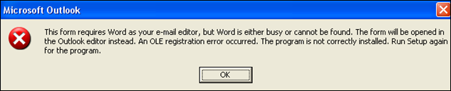 unable to use word 2003 as email editor